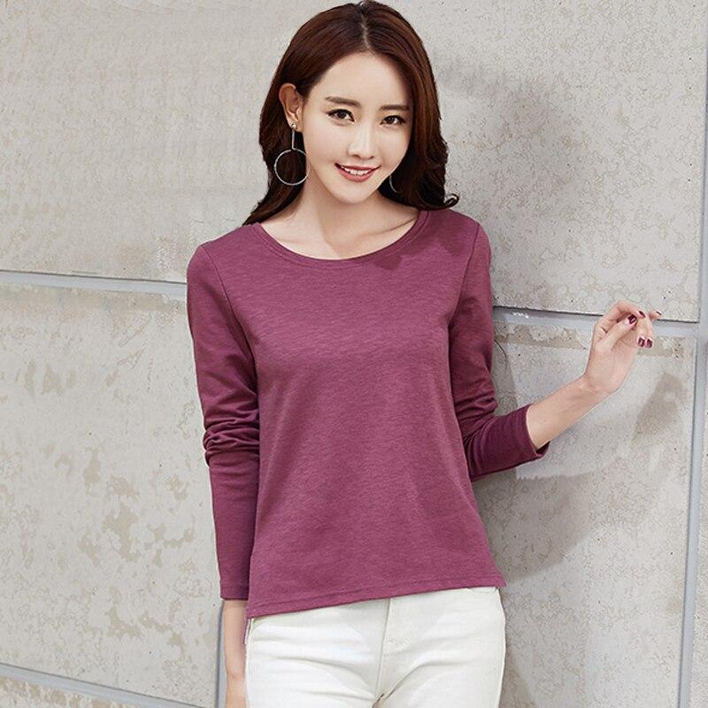 4XL Plus Size Women T Shirt Mujer Basic Tops 2018 Long Sleeves O Neck T Shirt