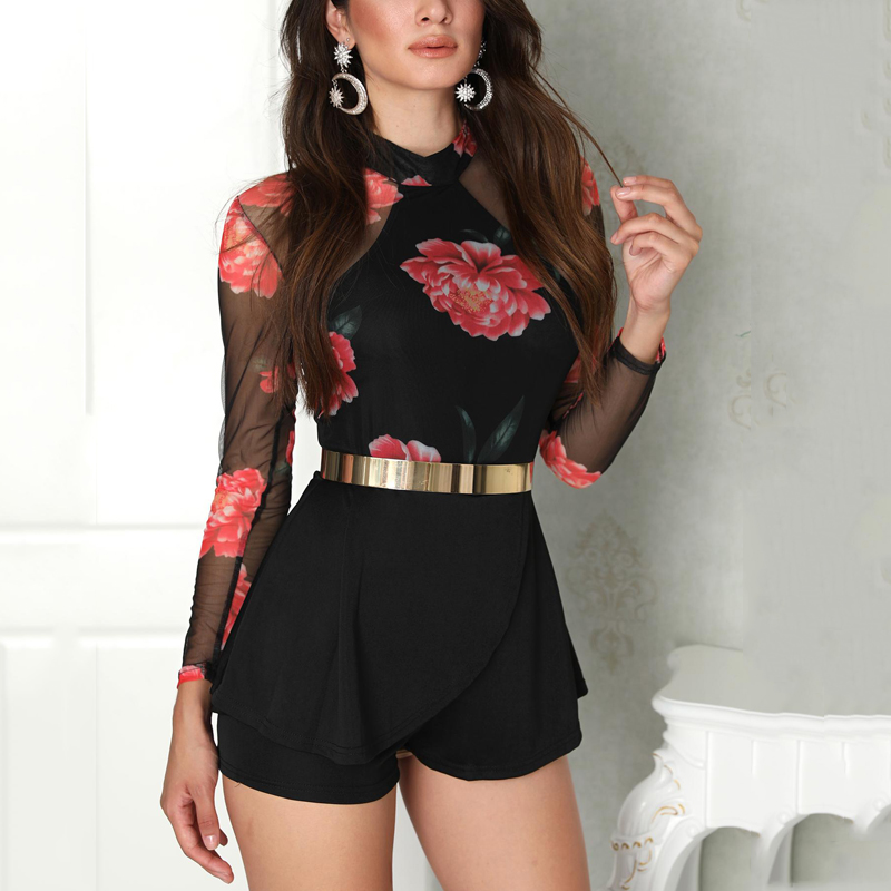 Women Floral Print Playsuit Boho O-Neck Open Back Mesh Party Mini   Romper   Female Mesh Cutout Back Pleated Jumpsuits