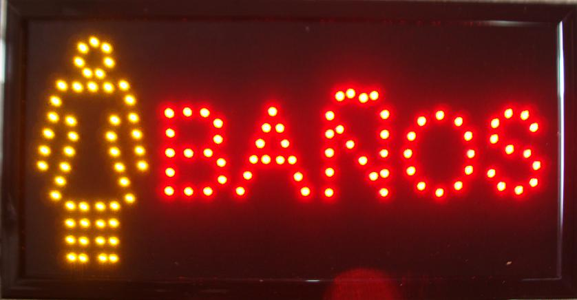 2017 hot sale customed 10x19 Inch Semi-outdoor Ultra Bright female banos led sign