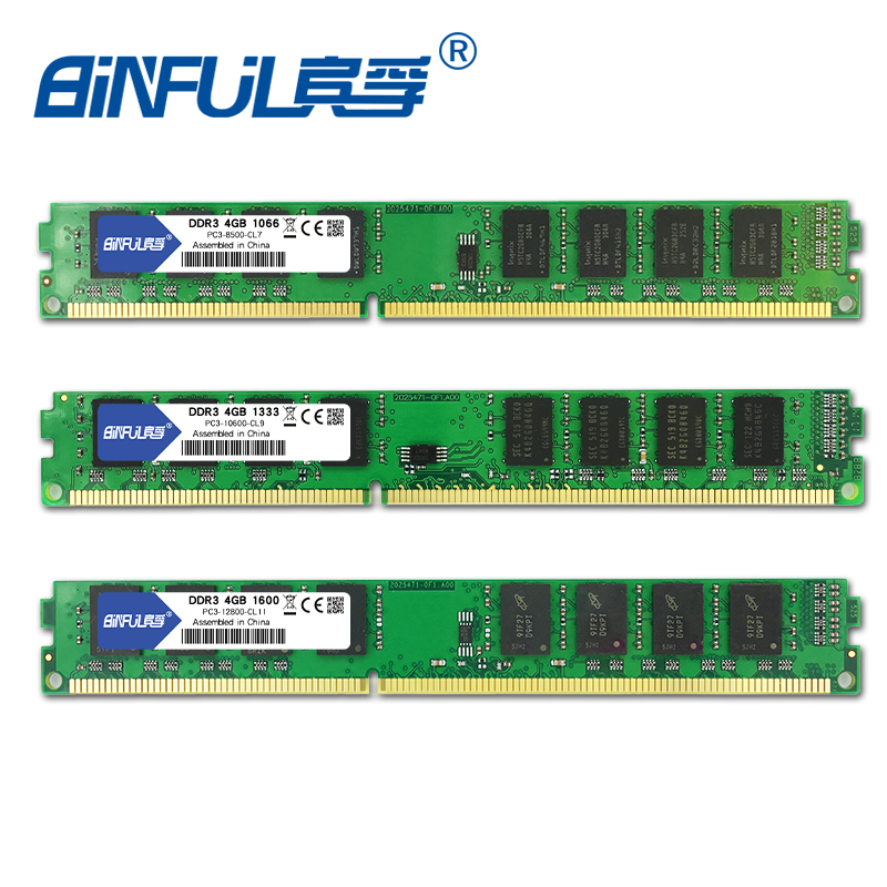 Binful Original DDR3 2GB 4GB 1066mhz /1333mhz /1600MHZ PC3-8500S/ PC3-10600S/ PC3-12800S Desktop RAM Memory 1.5 brand new sealed ddr3 1333mhz 1600mhz 2gb 4gb 8gb desktop ram memory for desktop ram memory free shipping