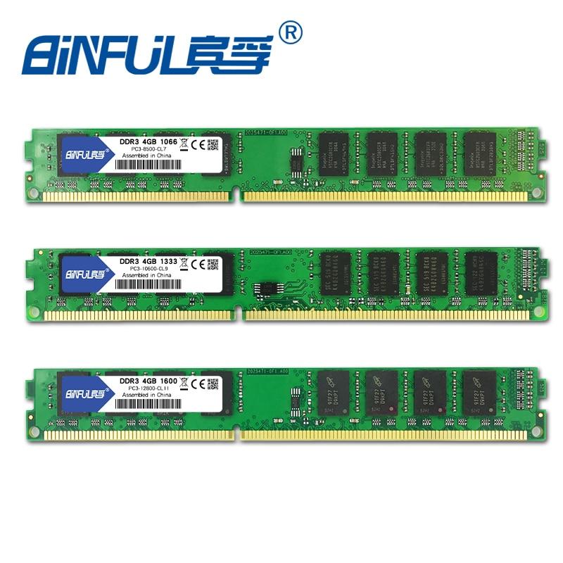Binful Original DDR3 2GB 4GB 1066mhz /1333mhz /1600MHZ PC3-8500S/ PC3-10600S/ PC3-12800S Desktop RAM Memory 1.5