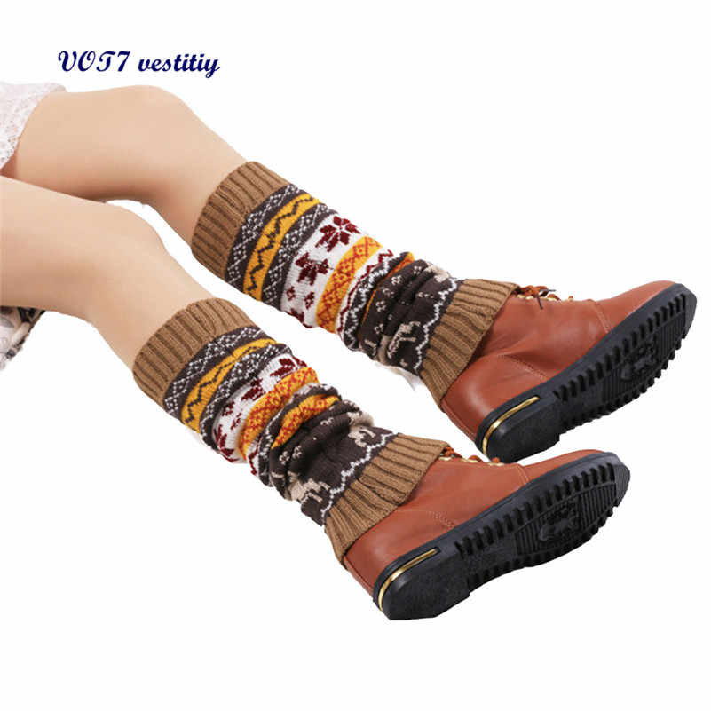 VOT7 vestitiy 2018 moda damska getry Snow Deer Patchwork kolana skarpetki na nogi Sep 27