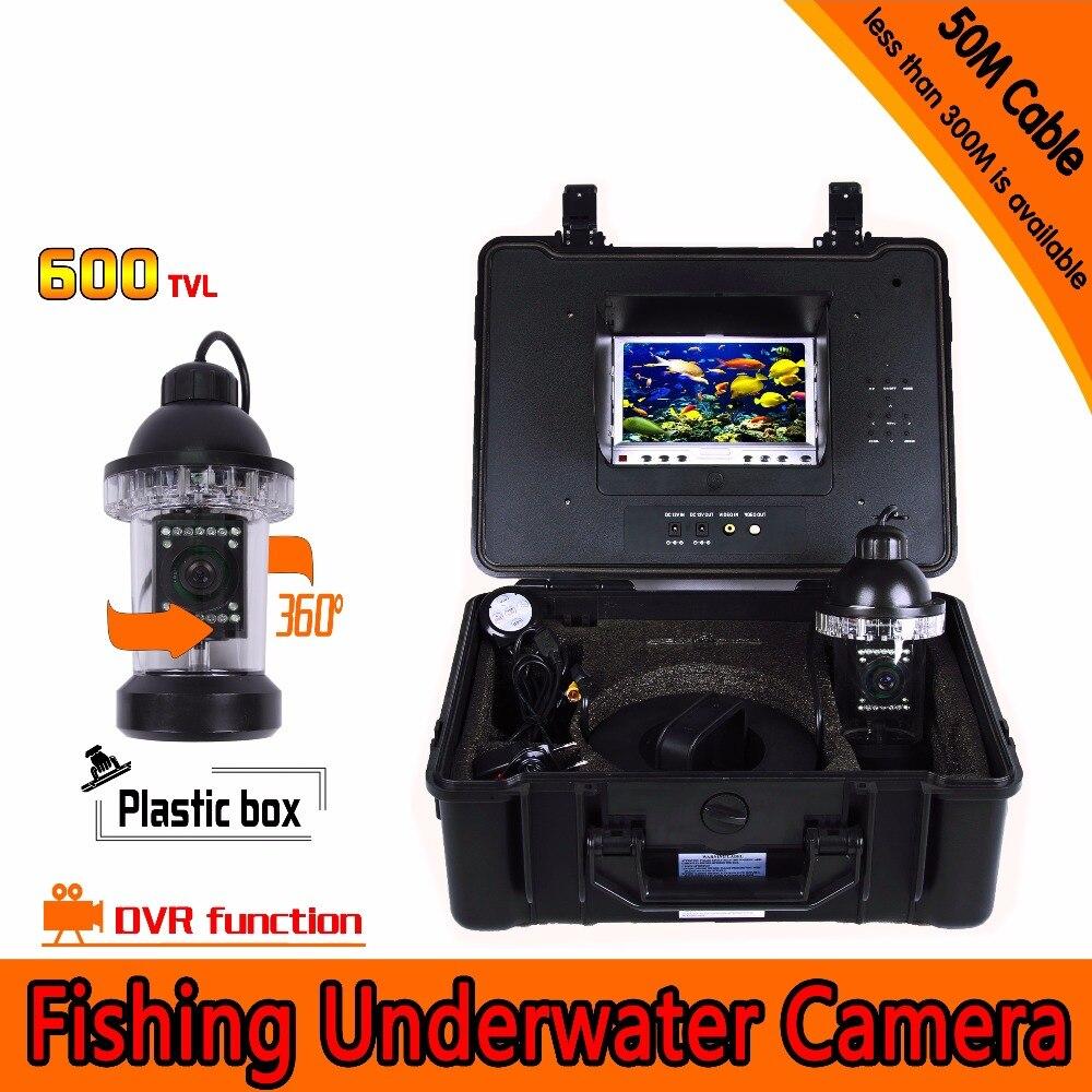 600TVL 50 M étanche à l'eau 360 degrés rotative caméra de pêche 7 pouces DVR AV Endoscope caméra