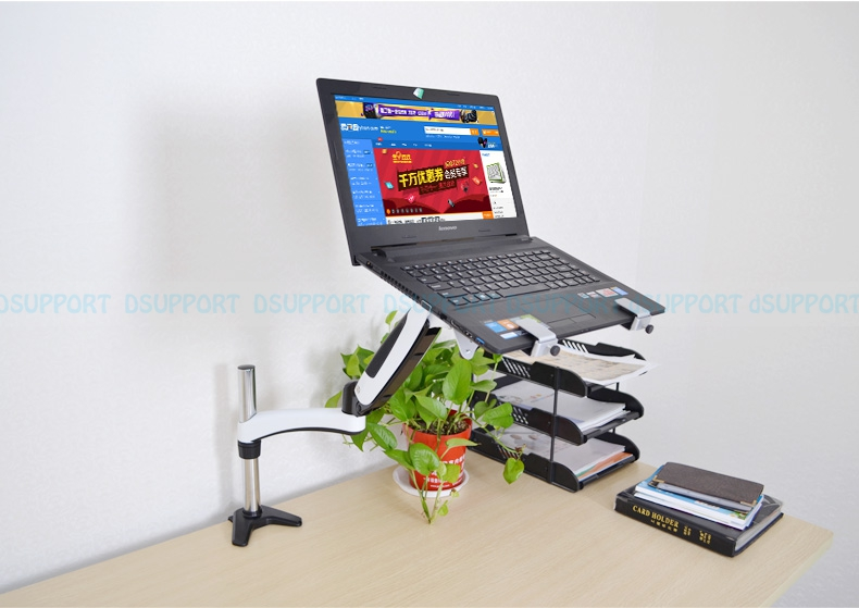 Gas Spring desktop Laptop Holder Arm Aluminum Alloy Full Motion 10-17 inch Laptop Mount Stand Lapdesk GM112C-LDM
