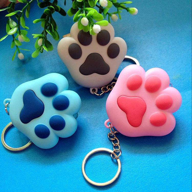 Lovely cat s paw font b LED b font sound light keychains font b flashlight b
