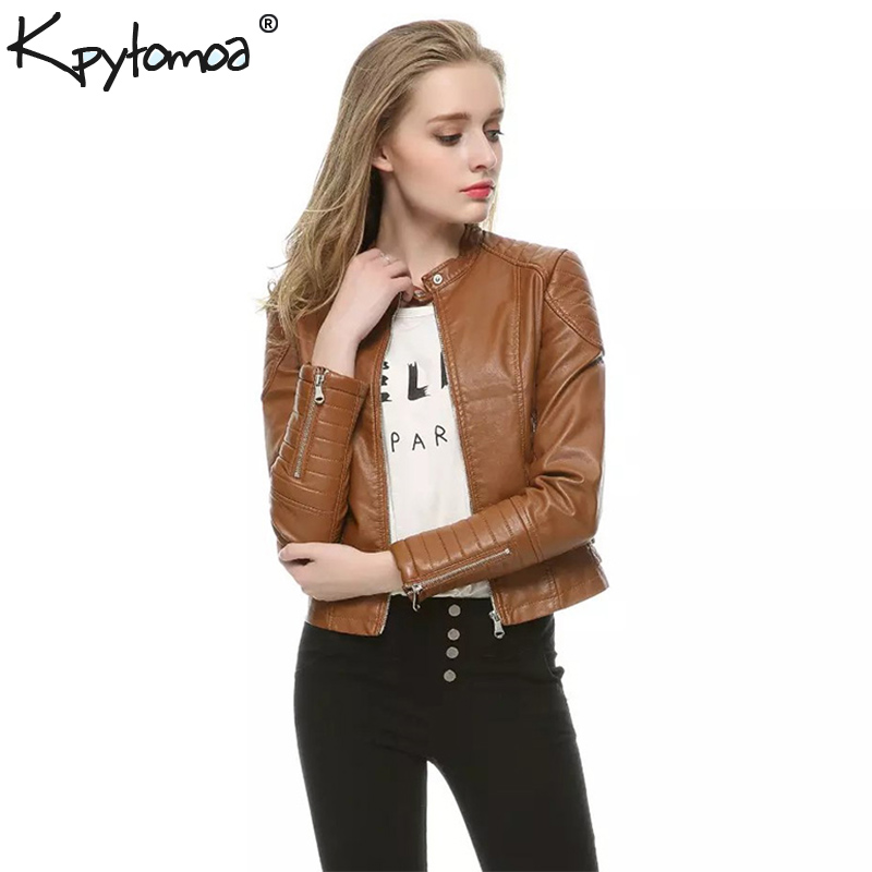 Vintage Faux   Leather   PU Motorcycle Biker Bomber Jacket Coat Women 2019 Fashion Long Sleeve Ladies Outerwear Casual Casaco Femme