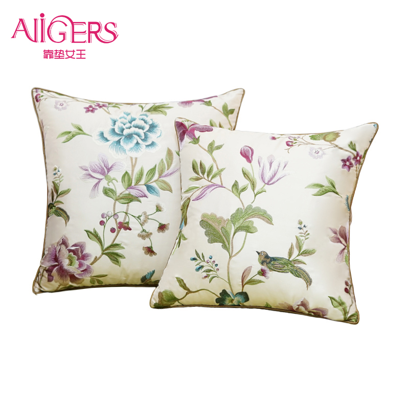 Avigers Luxury Silky Cotton Cushion Cover Pastoral Embroidery Pillow Cover Floral Pillow Case Home Decorative Sofa Throw Pillow