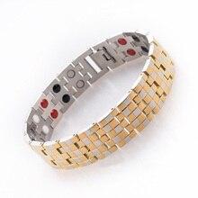 93ee44b275c8 Oro color joyería saludable pulsera de acero inoxidable con curación  magnética Ion germanio energía brazalete para hombres WSS00.