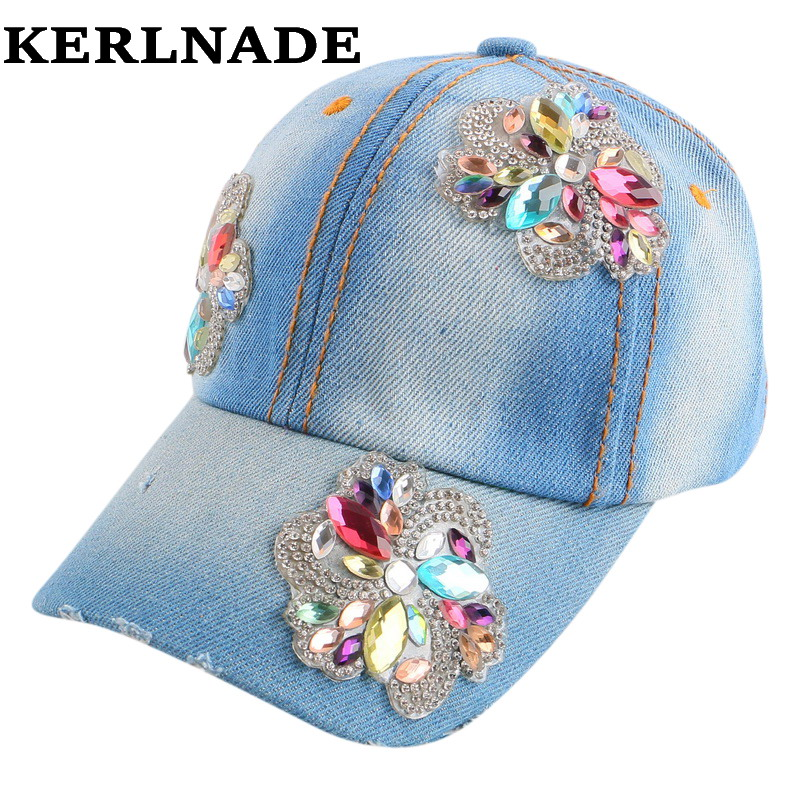wholesale children caps cute floral rhinestone spring summer baseball cap for girl children 4-11 years hip hop snap back hat