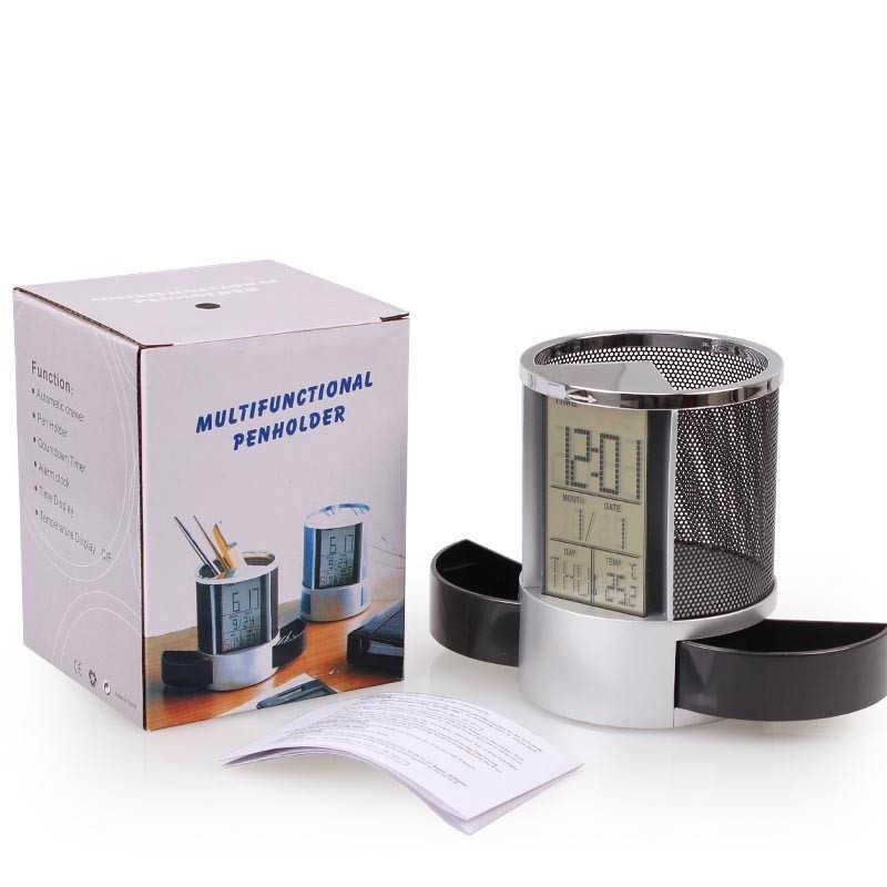 Kontainer Jam Digital Dekorasi Rumah Kantor Multifungsi Pena Pensil Pemegang Kasus Penyimpanan Vas Desktop Jam Alarm Listrik