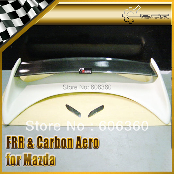 FOR Mazda RX7 FD3S FRP Fiber Glass Rear Spoiler With Carbon Fiber Center Blade Insert Mazdaspeed
