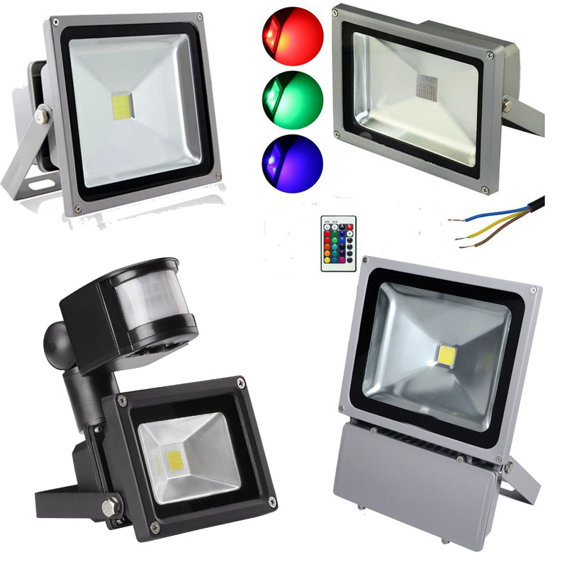 Buy outdoor rgb pir sensor led spotlight for Focos led exterior 50w