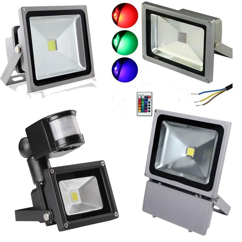 Buy outdoor rgb pir sensor led spotlight for Foco led exterior 10w