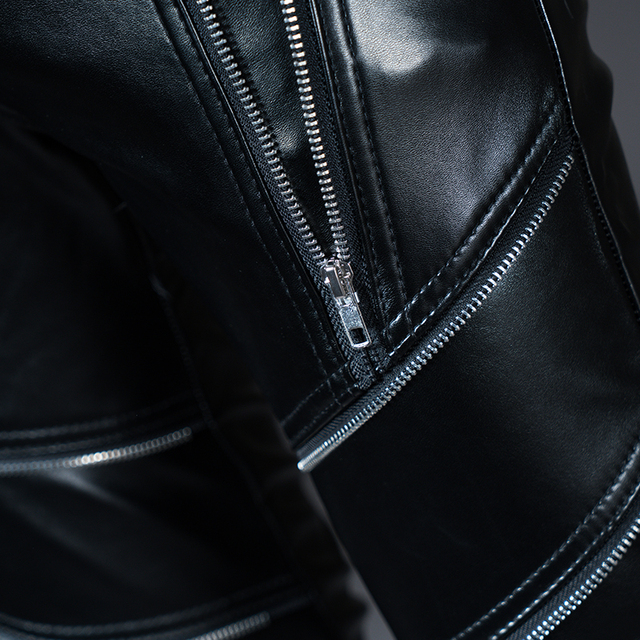 Mens Leather Pants Skinny Fashion Faux Leather Trousers Black 28-40