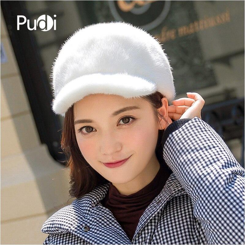 Pudi HF807 femmes vison fourrure chapeau filles véritable vison fourrure décontracté printemps automne chapeau visières