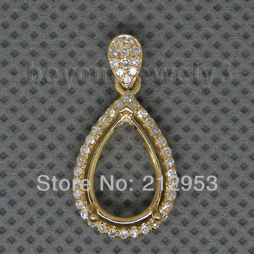 Aliexpress buy vintage pear 8x12mm solid 14kt yellow gold vintage pear 8x12mm solid 14kt yellow gold pendant semi mounts diamond pendant mountings for sale mozeypictures Image collections