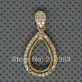 Vintage Pear 8x12mm Solid 14Kt Yellow Gold Pendant Semi Mounts , Diamond Pendant Mountings For Sale WP009