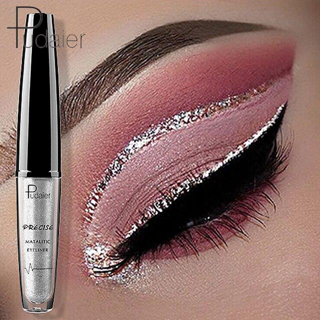 Pudaier marca 2018 nuevo líquido brillante ojos lápiz delineador impermeable maquillaje plata oro marrón brillo delineador de ojos Color cosmético