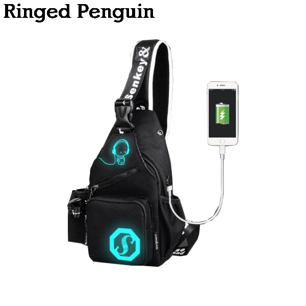 Luminous Sling Shoulder USB Charge Single Strap Chest Bag Crossbody Rope Triangle Pack Rucksack for School Handbag for Man