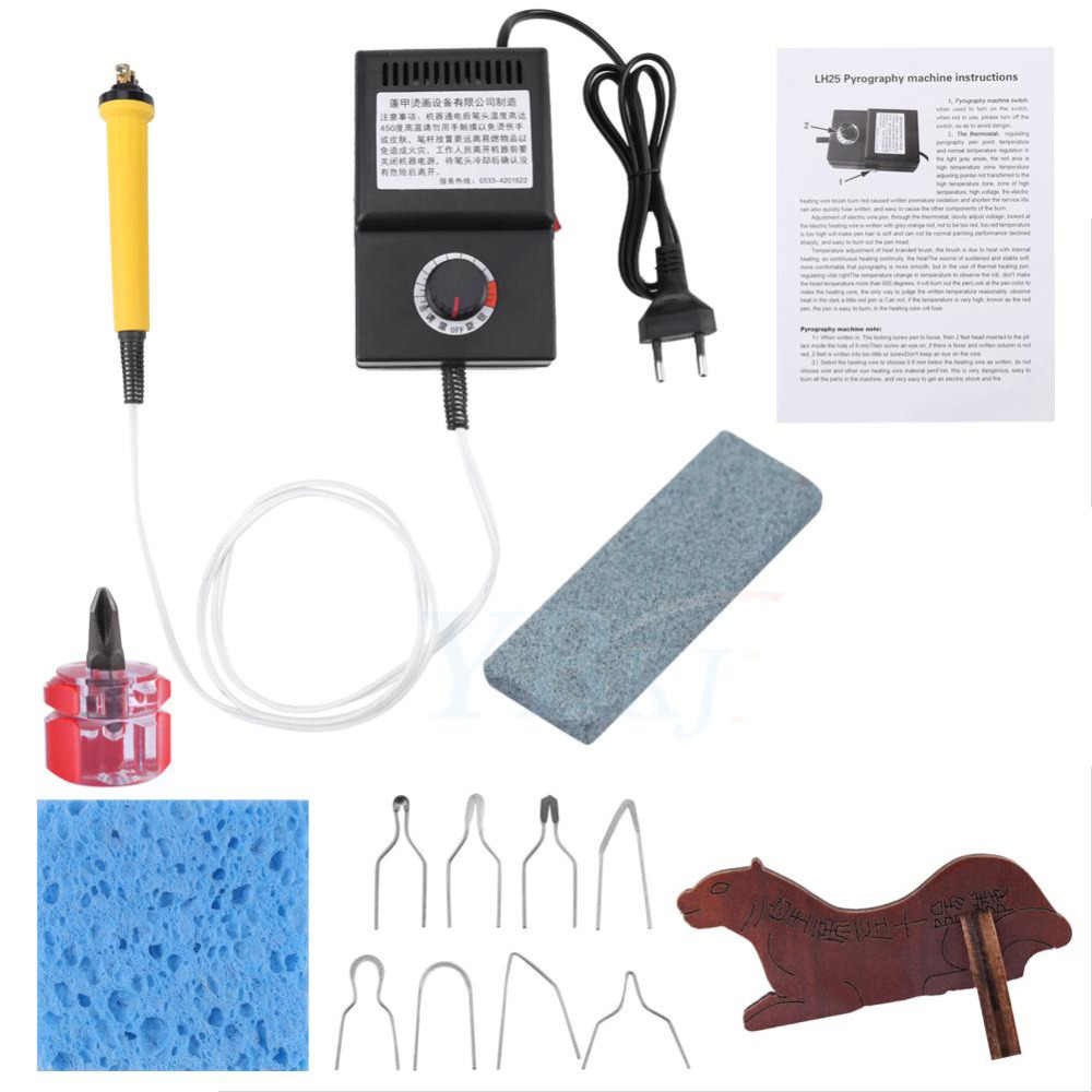 25W Pyrography Pen Machine Kit Set Wood Burning Crafts Tools Tip Holder Wood Leather EU plug