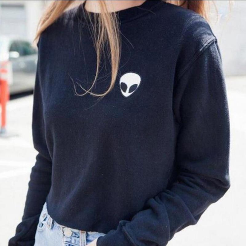 Embroidery ET Aliens Hoodies Sweatshirts harajuku Crew neck Sweats Women Clothing Feminina Loose Short Fleece Jumper Sweats01
