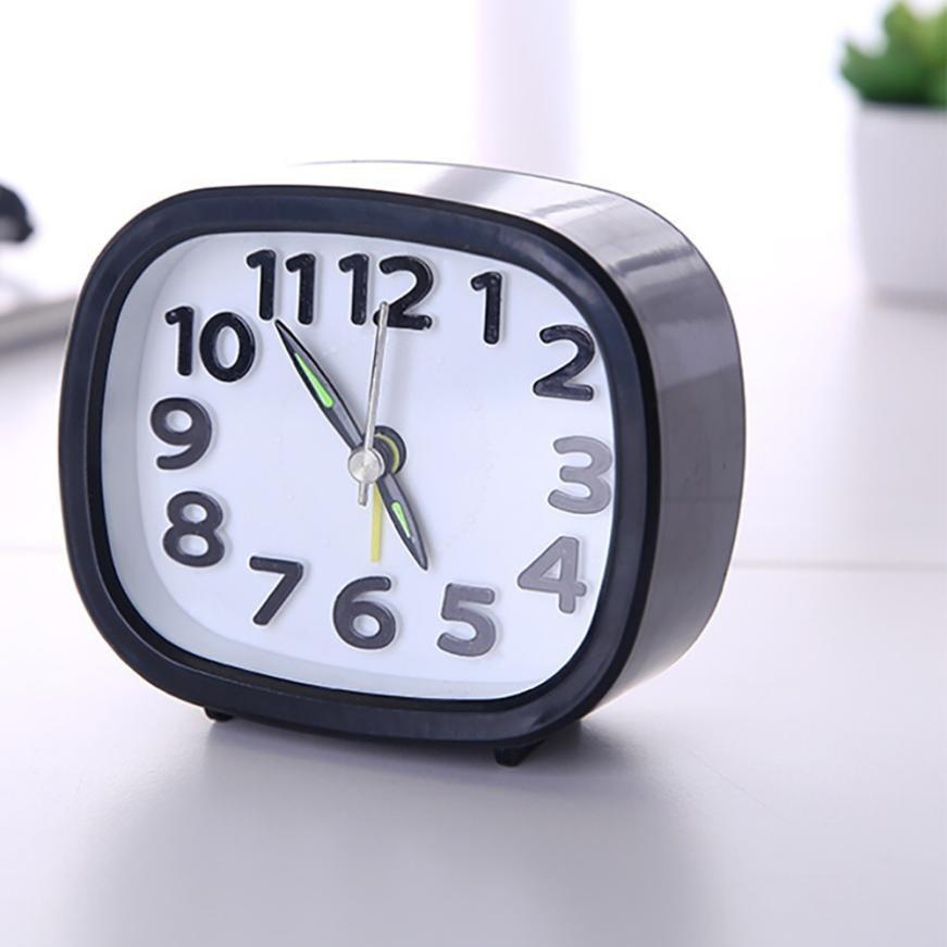 Rectangle Small Bed Compact Travel Quartz Beep Alarm Clock Cute Portable Luminova Nightlight Office Table Clock