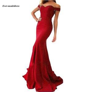 Image 4 - Vestidos de dama de honor con hombros descubiertos, sirena, Cremallera larga, tren de barrido trasero, sencillos, Vestidos para Fiesta de graduación, baratos, 2020