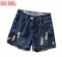 2018 Summer Denim Shorts Women Plus Size Hole Ripped Washed Straight Casual Shorts Ladies Waist short feminino XS 8XL