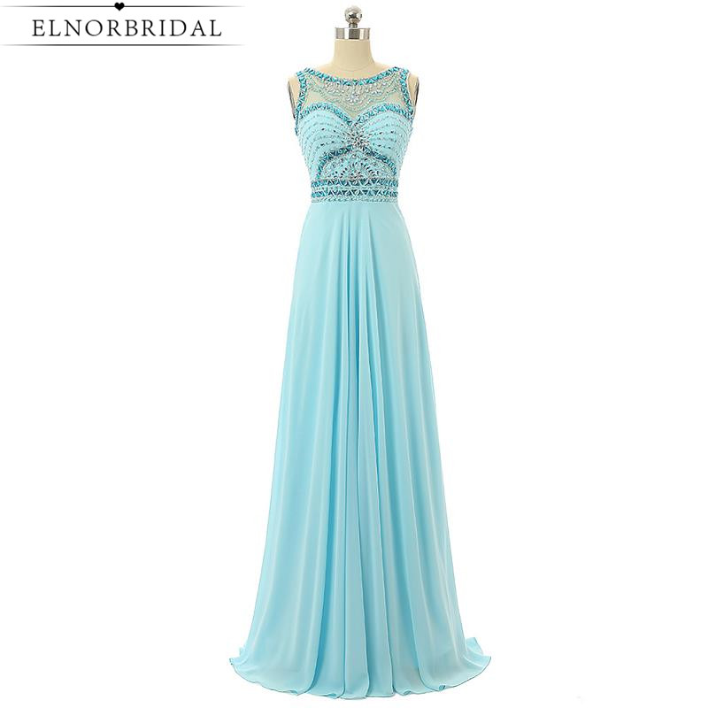2017 Sky Blue Beading Prom Dresses Long Sexy Girls Brithday Party Dress Robe De Soiree Longue Sheer Chiffon Formal Evening Gowns