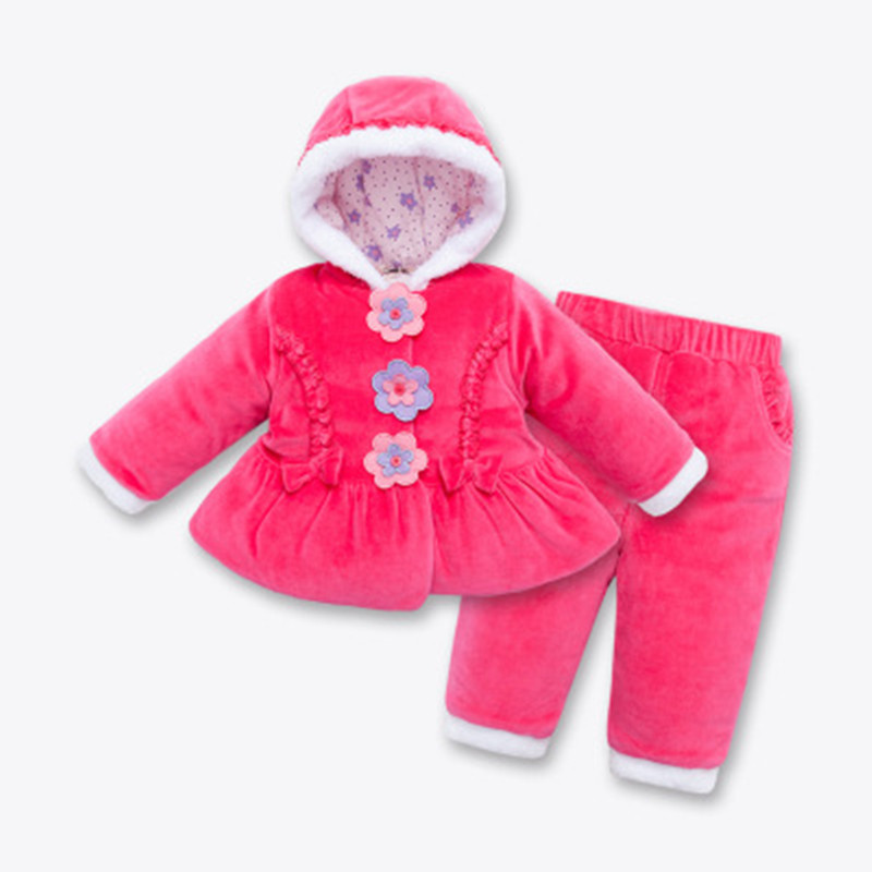 0-4 Years Old Winter Coats Girls Thicker Hooded Baby Coat Velvet Cotton Jacket Suits Warm Kids Clothing Set Red Wholesale