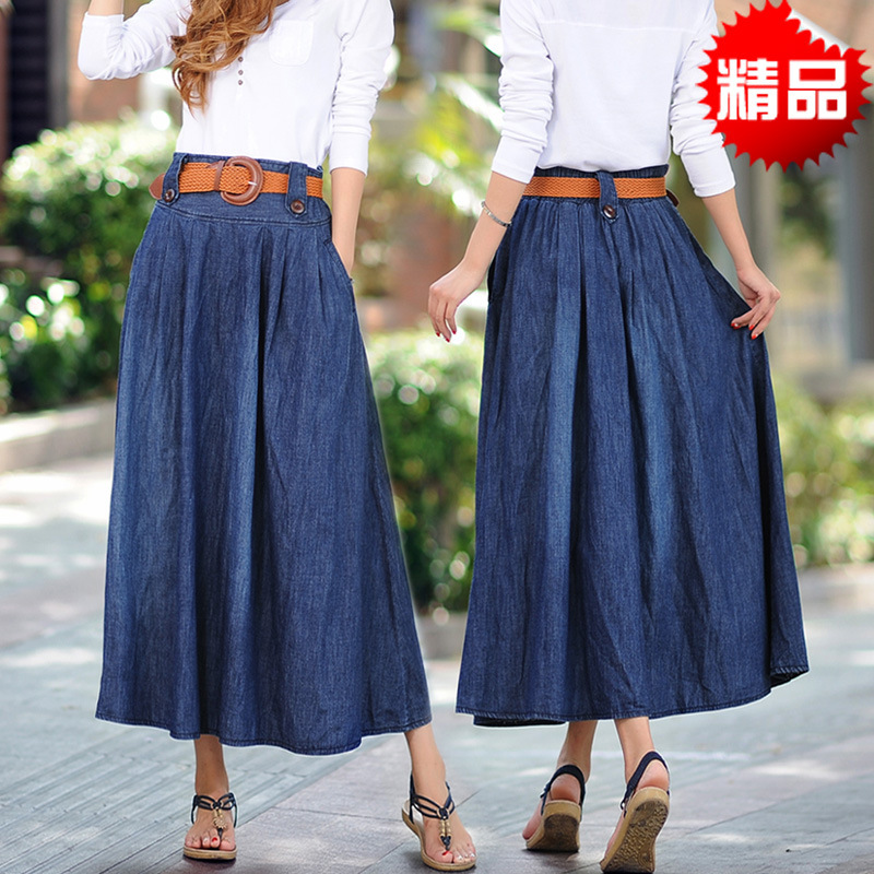 Aliexpress.com : Buy 2015 Long Denim Skirts Spring New big long ...
