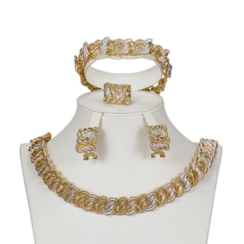 MUKUN jewellery sets for women Exquisite Dubai gold-colorful Jewelry Set Nigerian Woman Wedding Bridal African beads Jewelry Set