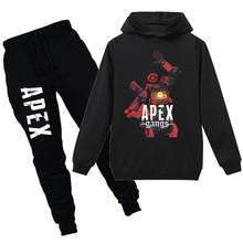 Spring and Autumn Children Cartoon apex legends game cotton T-shirt boys and girls long-sleeved sweater + pants suit clothing 2018 minecraft pants long sleeve suit boy clothing jacket spring and autumn hooded sweater suit children s t shirt 6 14y