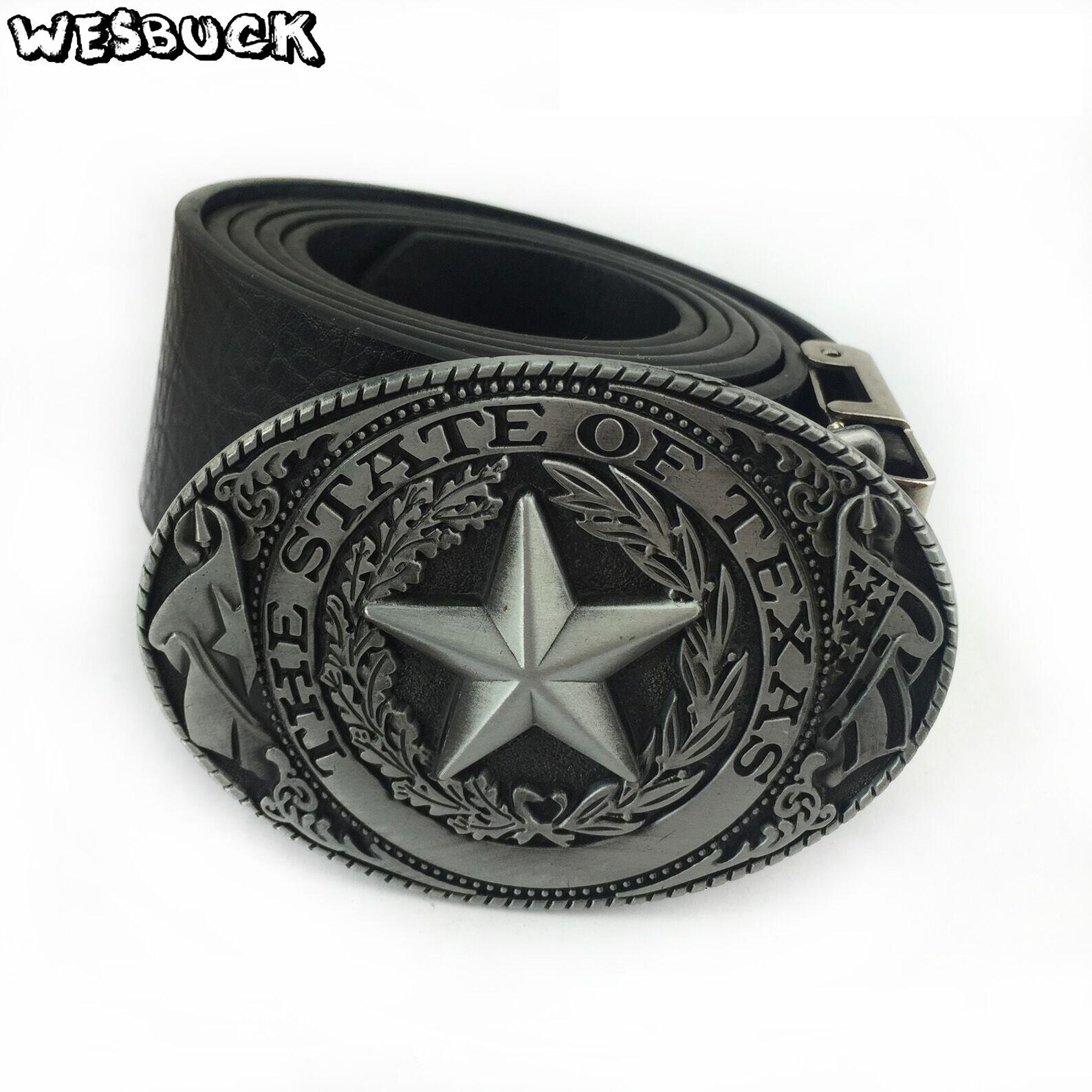 5 PCS MOQ WesBuck Brand Retro Plating Process State of Texas Flag Logo Cowboy Belt Buckle Mens Big Buckles for Belt Accessories