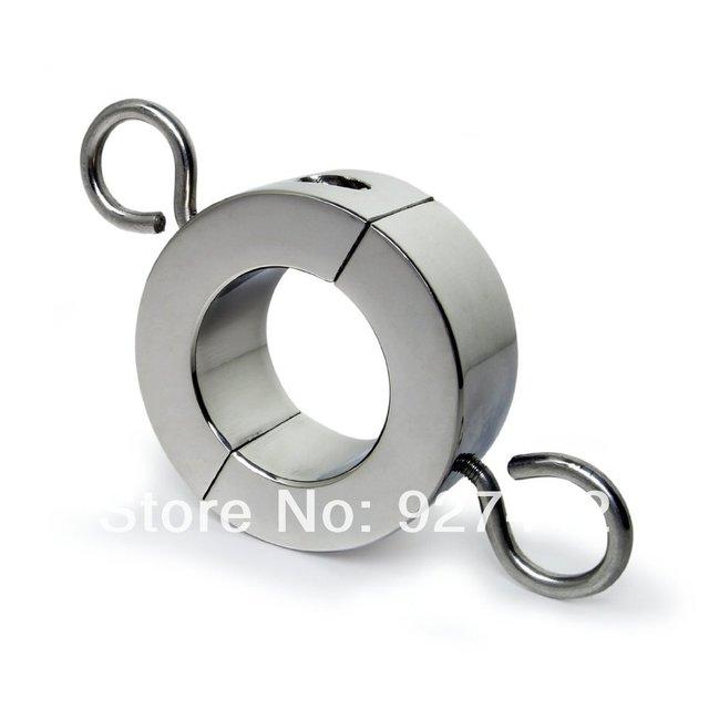 Escroto acero inoxidable Peso de la Bola de metal de Bloqueo Con Bisagras para CBT Camillas Cromado anillo del martillo del sexo juguete adulto del producto