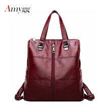 Women Backpack PU Leather Shoulder Bag Large Capacity Backbag Zipper School Bags For Teenage Girls Travel Bag Sac A Dos Femme