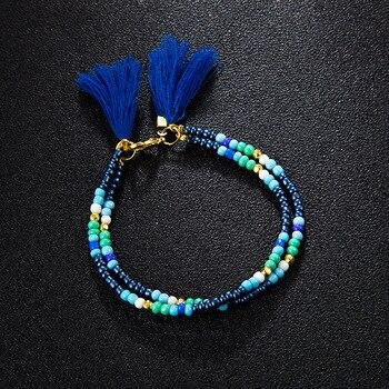 Noter New Fashion Anklets For Women Girls Dark Blue Tassel Foot Bracelet Summer Beach Jewelry Feet Accessories Best Friend Gift 5