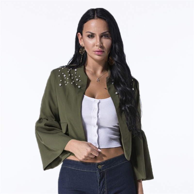 2019 Women   Jacket   Elegant Ruffles Flare Sleeve Coats Autumn Casual Solid   Basic     Jacket   for Women Cardigan Crop Slim Top Outerwear