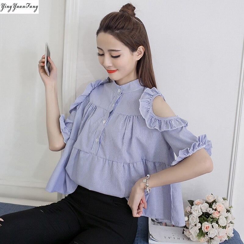 YingYuanFang  Fashion new women's loose A-shaped doll models were thin wild lotus leaf sleeve shirt women