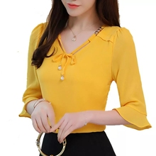 Fashion Blouses Women Tops Summer Elegant Lady Shirts Bow Ch