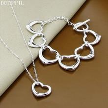 Classic 925 Sterling Silver Heart Necklace Bracelet Women Fashion Heart To Heart Bracelet Necklace Jewelry S classic heart pattern bracelet for women
