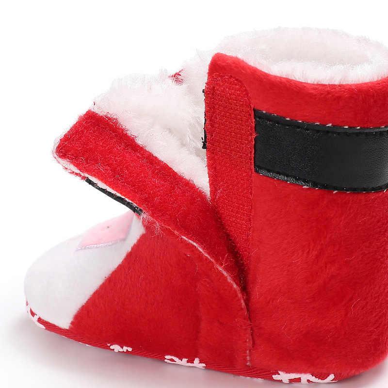 2020 inverno natal papai noel bebê primeiros caminhantes botas de neve do bebê crianças anti-deslizamento sapatos de bebê menina do menino quente sapatos de bebê ds19