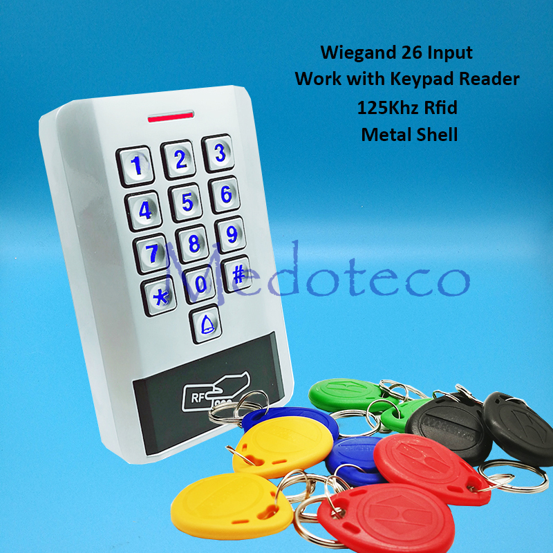 125khz rfid Card Access Control EM card Metal Press keypad access controller wiegand 26 input for Keypad Reader Door Lock Reader mini access control keypad em card wiegand 26 output input with rfid keyfobs 125khz for door lock security system