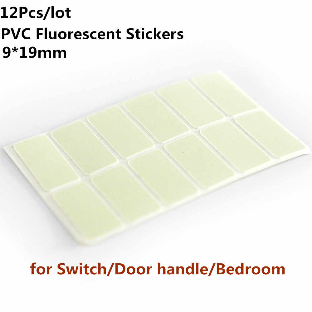 12pcs/lot PVC Fluorescent Stickers Glow In the Dark Stickers for Light Switch Button/Door handle/Bedroom use 9*19mm