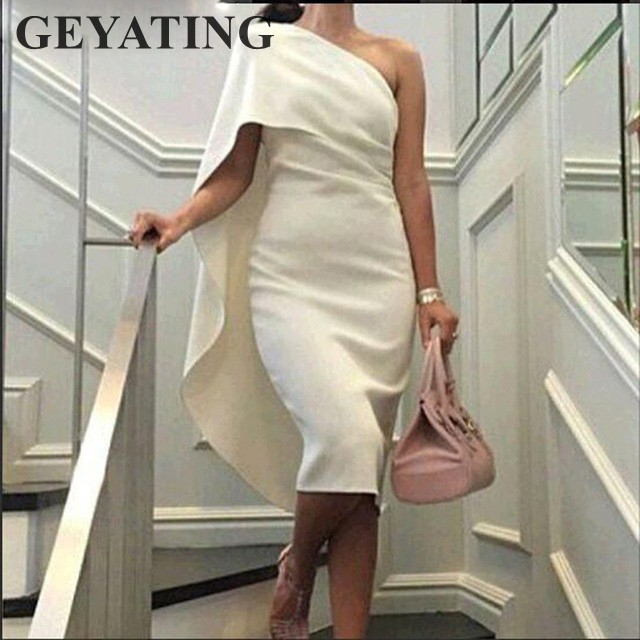 Simple Ivory Satin Sheath Short Cocktail Dresses 2019 Elegant One Shoulder Knee Length Sexy Prom Party Gowns Semi Formal Dress