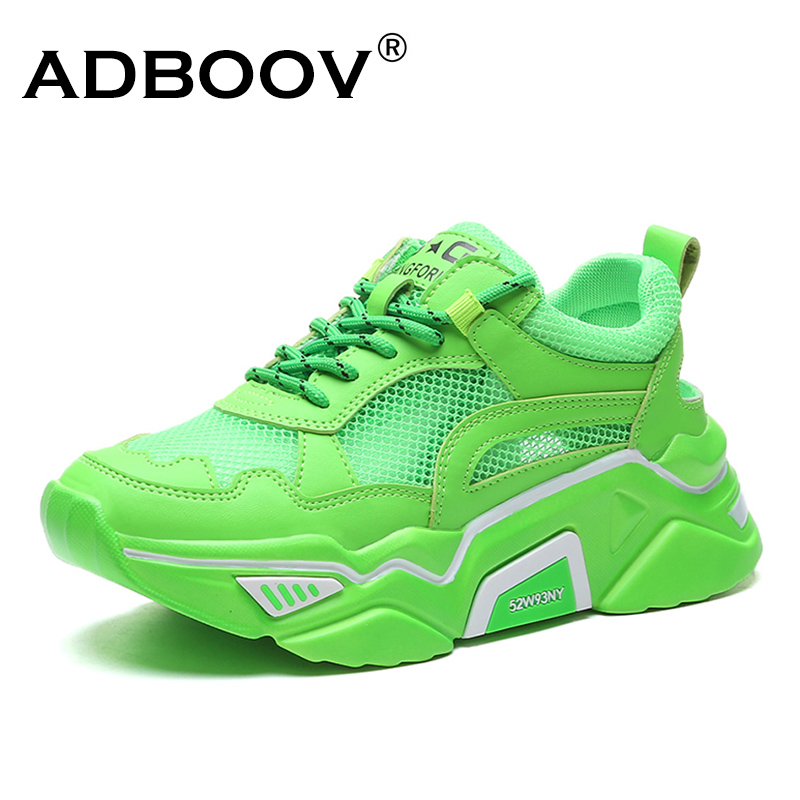 ADBOOV Fashion Platform Women's Sneakers Breathable Leather Mesh Upper Dad Chunky Shoes Women Street Sneakers For Ladies