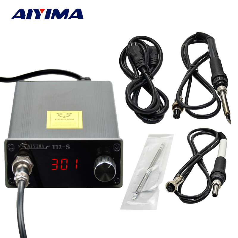 Aiyima T12 Digital Soldering Iron Station Temperature Controller 110V-220V Compatible 936 T12 Handle Thermostatic 72W EU Plug soldering iron station temperature controller handle stand for hakko t12
