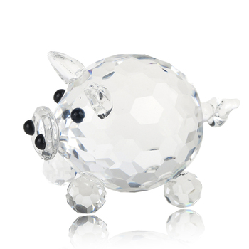 H&D Crystal Pig Figurine Collection Cut Glass Animal Statue Ornament for Table