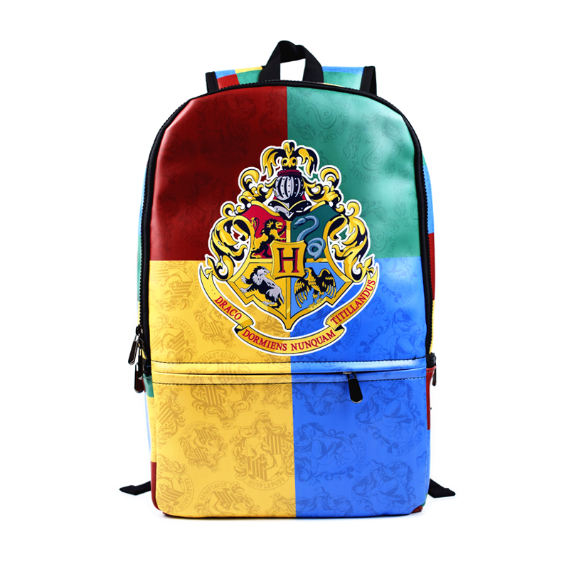 FVIP 2018 Free Shipping Harry Potter Hogwarts Backpack High Quality PU Leather Backbag Water Proof School Bag For Young