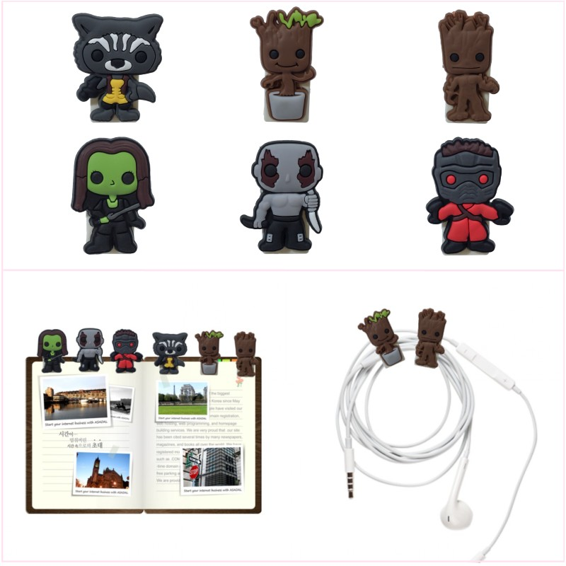 5pcs Groot Cute Card Note Holder Cartoon PVC Bookmarks School Office Paper Clips DIY USB Binding Clips Gift